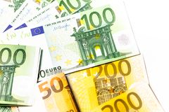 Euro geld euro contant geldachtergrond Euro geldbankbiljetten Royalty-vrije Stock Foto