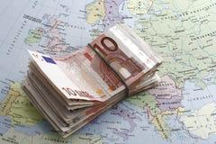 Euro geld en kaart Stock Foto's