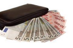 Euro geld en portefeuille Royalty-vrije Stock Afbeeldingen
