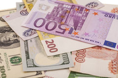 Euro Geld, Roebel en Dollars Stock Foto