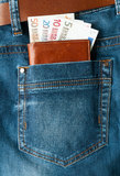 Euro geld in zak Royalty-vrije Stock Fotografie