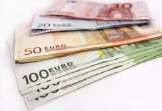 Euro geldbankbiljetten Stock Afbeeldingen