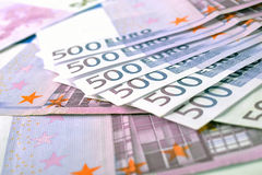 500 euro geldbankbiljetten Stock Afbeeldingen