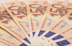 Euro geldbankbiljetten 50 euro Stock Foto's