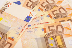 Euro geldbankbiljetten 50 euro Royalty-vrije Stock Fotografie
