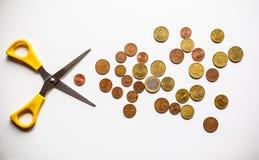 Euro geldbesnoeiingen op de begroting Stock Afbeelding