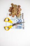 Euro geldbesnoeiingen op de begroting Royalty-vrije Stock Afbeeldingen