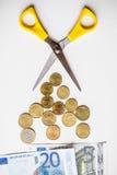 Euro geldbesnoeiingen op de begroting Stock Foto