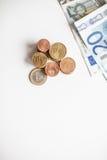 Euro geldmuntstukken Royalty-vrije Stock Foto's