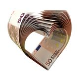 50 Euro Notes old as a shape of heart. 3d illustration stock illustration
