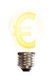Euro geldteken in gloeilamp Royalty-vrije Stock Foto