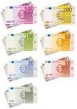 Euro Geplaatste Rekeningen Stock Afbeelding