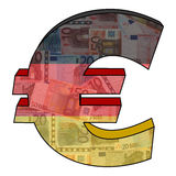 Euro with German flag. Euro symbol with German flag and currency illustration Royalty Free Stock Image