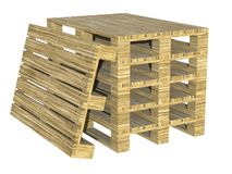 Euro gestapelde pallets Opslaande houten pallets 3D Illustratie vector illustratie
