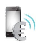 Euro gestion de devise à un téléphone portable illustration libre de droits