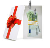 Euro in gift box on white Stock Images