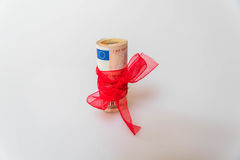 50 euro gift. 50 euros gift with red bow-tie stock image