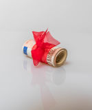 50 euro gift. With red bowtie royalty free stock photo
