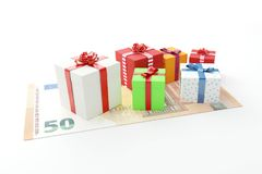 50 euro gifts presents boxes with cash money. 3d vector illustration