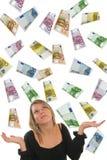 Euro and Girl. Euro money rain and businesswoman Stock Photos