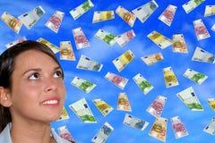 Euro and Girl. Euro money rain and businesswoman Stock Image