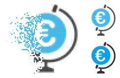 Destructed Dot Halftone Euro Globe Icon vector illustration