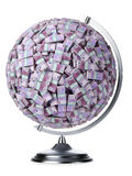 Euro globo dei soldi su bianco isolato Immagini Stock