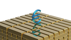 Euro on gold Royalty Free Stock Photos