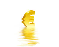 Euro gold symbol whit reflection water Royalty Free Stock Images