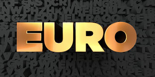 Euro - Gold text on black background - 3D rendered royalty free stock picture Stock Images