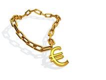 Euro golden chain. Computer rendered euro golden chain on white background Stock Photo