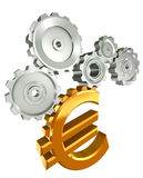 Euro Golden Symbol And Metal Cogs Stock Image
