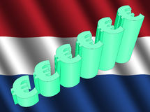 Euro grafiek op Nederlandse vlag Stock Afbeelding