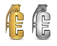 Euro granaat in goud en zilver Royalty-vrije Stock Afbeelding