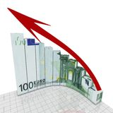Euro graph round corner Royalty Free Stock Photos