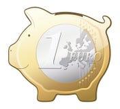 Euro graphisme de vecteur de tirelire de pièce de monnaie Image libre de droits