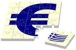 Euro without Greece. As jigsaw puzzle stock illustration