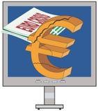 Euro and Greece Crisis. Vector euro / Greece crisis conceptual illustration Stock Photography