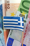 Euro and Greek flag Stock Photo