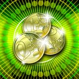 Euro on green background. Casino graphic with sparkling gold money on green background Stock Photo