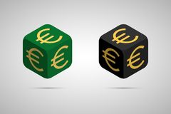 Euro. Green and Black Euro Cube. Isometric Cube with Golden Euro Sign on the Sides. Isolated Cubic Figure with Shadow Royalty Free Stock Images