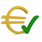 Euro. With a green checkmark Stock Images