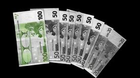 Euro green. Focus on your green. Euro bills of different values starting from 20 to 100 stock image