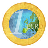 Euro Green Price. Euro coin of natural colours for green price vector illustration