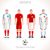 EURO 2016 GROUP B Championship. France EURO 2016 Championship Infographic Qualified Soccer Players GROUP B. Football Game Jersey flags of final participating Stock Photography