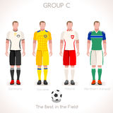 EURO 2016 GROUP C Championship. France EURO 2016 Championship Infographic Qualified Soccer Players GROUP C. Football Game Jersey flags of final participating Stock Photo