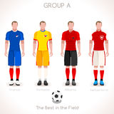 EURO 2016 GROUP A Championship. France EURO 2016 Championship Infographic Qualified Soccer Players GROUP A. Football Game jersey flags of final participating Stock Image