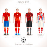 EURO 2016 GROUP D Championship. France EURO 2016 Championship Infographic Qualified Soccer Players GROUP D. Football Game Jersey flags of final participating Stock Photos