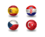 Euro group D. football balls with national flags of spain, croatia, czech republic, turkey Royalty Free Stock Images