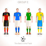 EURO 2016 GROUP E Championship. France EURO 2016 Championship Infographic Qualified Soccer Players GROUP E. Football Game Jersey flags of final participating Royalty Free Stock Photography